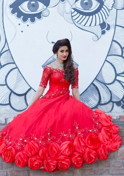 Red colour wedding gown